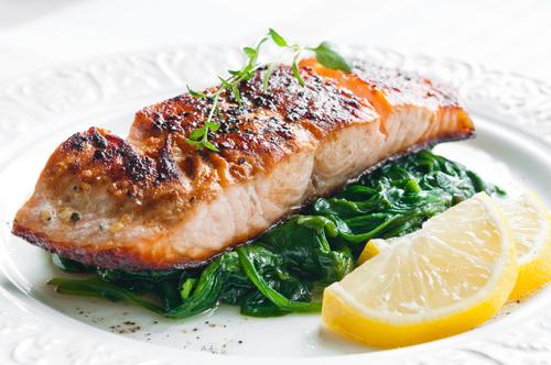 One Pan Salmon and Crispy Kale