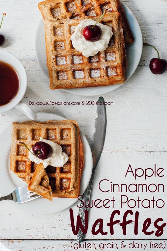 Apple Cinnamon Sweet Potato Waffles (gluten, grain, and dairy free) // realmealplans.com