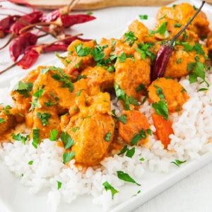 Peanut Chicken Curry over Cauliflower Rice