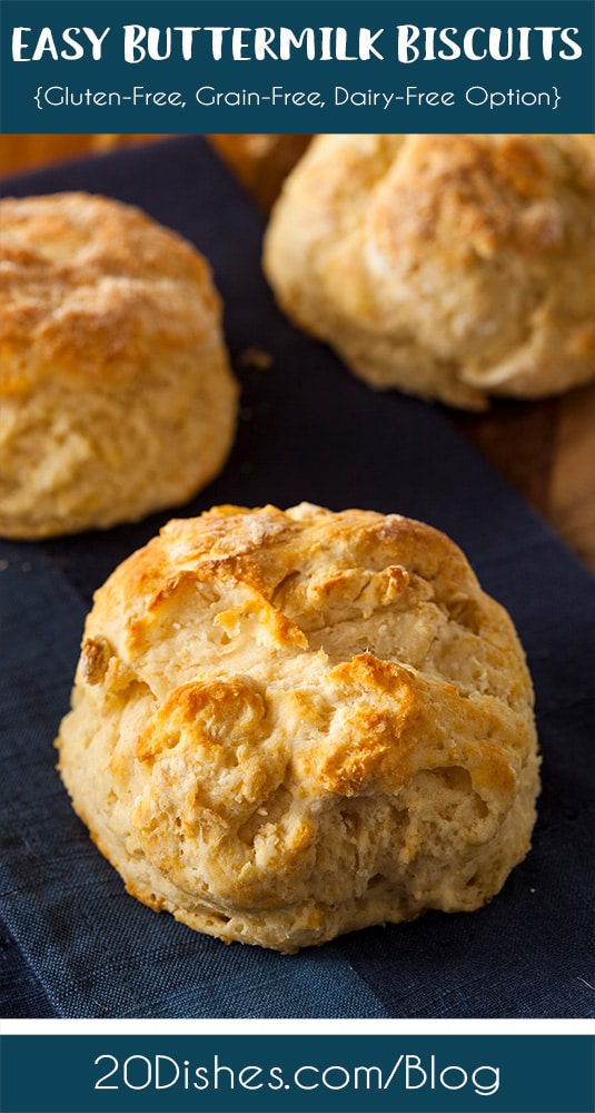 Easy Buttermilk Biscuits {Gluten-Free, Grain-Free, Dairy-Free Option} // 20Dishes.com