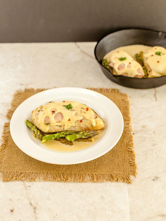 Malibu Chicken Dijon asparagus skillet 3797 1cc 1 of 1 med Malibu Dijon Chicken Asparagus Skillet