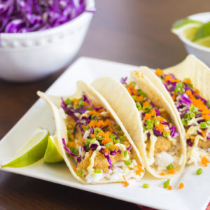 Fish Tacos with Garlic Lime Crema