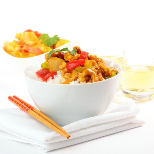 Spicy Cashew Chicken and Cauliflower Rice