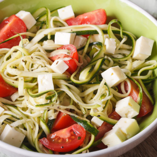 Zucchini Pasta Caprese Salad