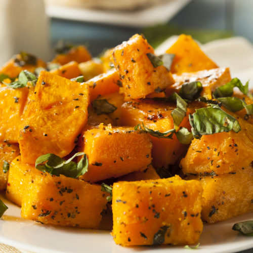 Spiced Butternut Wedges with Avocado Lime Crema