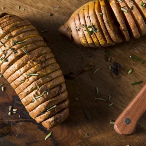 Hasselback White Sweet Potato