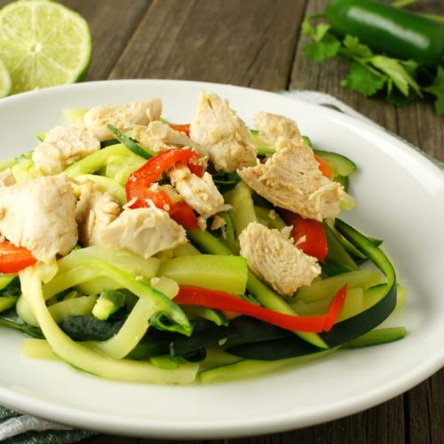 Asian Almond Chicken and Zoodles