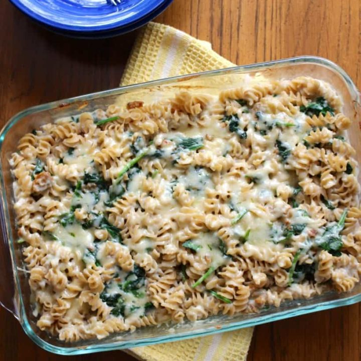 Sausage Spinach Cheddar Casserole With Creamy Cauliflower Sauce Frugal Nutrition 819x1024 1 20 Casseroles That Are $10 Or Less