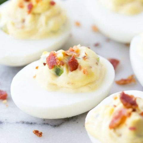 bacon jalapeno deviled eggs FB LINK 20 Real Food Thanksgiving Recipes