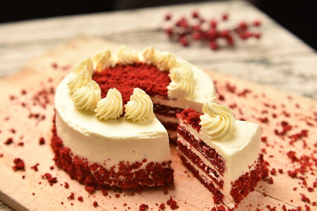 red velvet cake on a platter