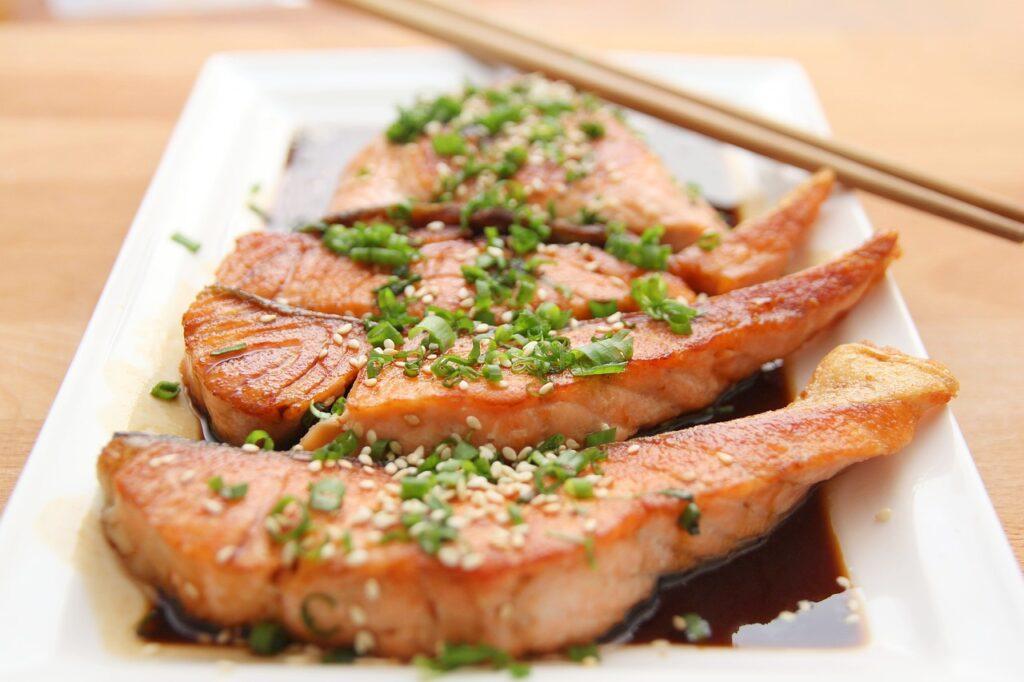 salmon on a plate garnish